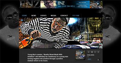 Portfolio:  Website for music producer and rapper Enz